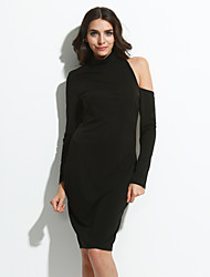Women's High Neck Midi Cut-out Back Long Sleeves Dress