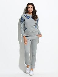 Activewear Set Femme Grandes Tailles Décontracté / Quotidien simple Imprimé Col Arrondi Micro-élastique Rayonne Manches Longues Automne