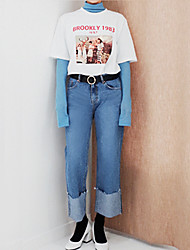 Cool autumn and winter wind crimping edges straight denim trousers