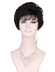 6A Synthetic Cosplay Wigs Women's Short Straight Black Wig Heat Resistant Fiber Wig
