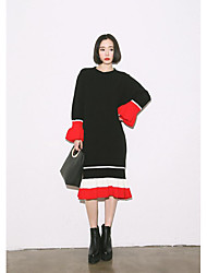 Korean autumn and winter spell color stripes flounced long sweater female hedging loose knit fishtail skirt dress bottoming
