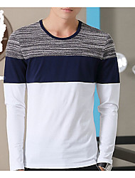 Herren Patchwork Chinoiserie Lässig/Alltäglich T-shirt,Rundhalsausschnitt Langarm Blau / Weiß / Grau Baumwolle Mittel
