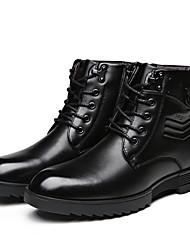 Men's Boots Winter Comfort Nappa Leather Fleece Office & Career Casual Low Heel Lace-up Black