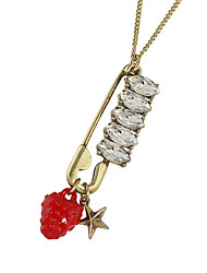 New Model Rhinestone Pin Star Shape Long Pendant Necklaces