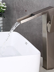 Contemporary Brass Nickel Brushed Waterfall Bathroom Sink Faucet