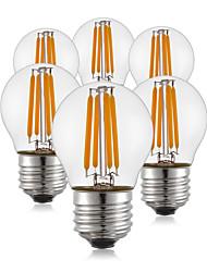 4W E26/E27 Ampoules à Filament LED G45 4 COB 400 lm Blanc Chaud AC 100-240 V 6 pièces