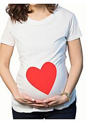 T-shirt Casual Semplice Estate Autunno,Tinta unita Rotonda Cotone Manica corta Medio spessore