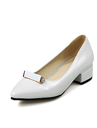 Women's Heels Spring Summer Fall Comfort PU Office & Career Casual Party & Evening Low Heel Pink Red White Silver Almond Walking