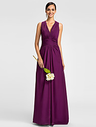 LAN TING BRIDE Floor-length Chiffon Mini Me Bridesmaid Dress - A-line V-neck Plus Size / Petite with Side Draping / Ruching