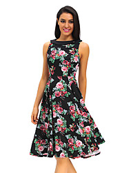 Women's Modest Ladies 50s Floral Swing Vintage Dress