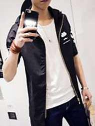 Men's Casual/Daily Simple Jackets,Solid Hooded ½ Length Sleeve Fall / Winter White / Black Rayon Medium