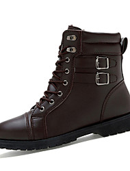 Men's Boots Fall Winter Comfort PU Casual Flat Heel Lace-up Black Brown