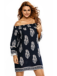 Women's Navy Blue Boho Print Off Shoulder Swing Dress