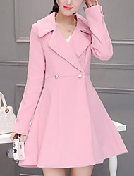Women's Formal / Work Punk & Gothic / Sophisticated CoatSolid Notch Lapel Long Sleeve Fall / Winter Pink Cotton