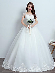 Ball Gown Wedding Dress Floor-length Scoop Lace / Satin / Tulle with Lace / Sequin