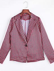 Fall Blazer,Plaid Shirt Collar Long Sleeve Red Cotton Medium
