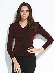 Tee-shirt Femme,Couleur Pleine Sortie Grandes Tailles Chic de Rue Automne Manches Longues Col en V Bleu Rouge Noir Polyester Moyen