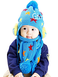 Unisex Knitting Winter Going out/Casual/Daily Boy And Girl Patchwork Warmth Hat Caps & Scarf Two-piece Set