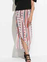 Women's  Ethnic Print Maxi Skirt Wrapped Beach Dress