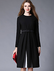 Women's Formal Work Sophisticated Swing Dress,Solid Round Neck Knee-length Long Sleeve Cotton Polyester Nylon Black Winter Mid Rise