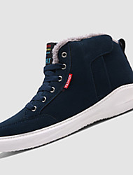 Men's Sneakers Winter Comfort Suede Casual Flat Heel Lace-up Black Dark Green Navy Blue