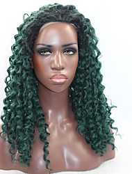 Kinky Curly Hair Heat Resistant Synthetic Lace Front Wig Black Root Dark Green Color Synthetic Hair Fiber Wig With Adjustable Strap