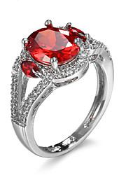 Women Rings Silver Plated Pomegranate Red Big Pure Zircon Rings Jewelry Valentine's Day Gift For Girl 92748