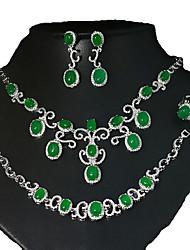 Бижутерия 1 ожерелье 1 пара сережек 1 браслет Кольца Halloween Повседневные Циркон Медь 1 комплект Женский Серебряный Свадебные подарки