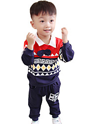 Boy's Cotton Fashion Spring/Fall Going out/Casual/Daily Children Pattern Shirt And Jeans Baby Two-piece Clothing Set
