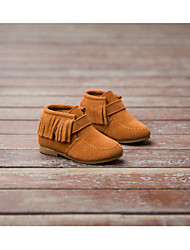 Girl's Boots Winter Other Leather Outdoor Casual Wedge Heel Tassel