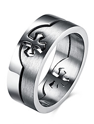 Anéis Diário Casual Jóias Aço Inoxidável Aço Titânio Masculino Anel 1peça,7 8 9 10 Prateado