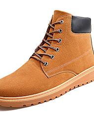 Men's Boots Spring Fall Comfort PU Outdoor Flat Heel Lace-up Blue Dark Brown Light Brown