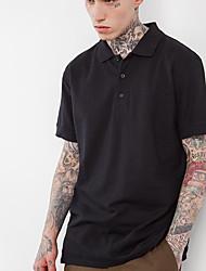 Herren Solide Einfach Lässig/Alltäglich T-shirt,Klassischer Kragen Kurzarm Kunstseide