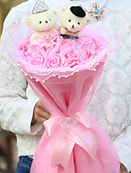 Valentine'S Day A Marriage Gauze Bear And 11 Cartoon Bouquet Of Pink Roses