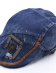 Retro Skull Cowboy Duck Tongue Ladies Denim Beret Peaked Cap