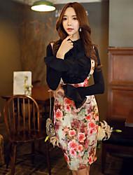 Damen Röcke,Stifte Bodycon Blumen Druck MusterAusgehen Lässig/Alltäglich Urlaub Vintage Boho Street Schick Hohe Hüfthöhe Knielänge