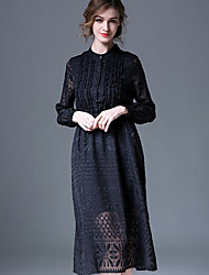 Women's Work Party/Cocktail Sophisticated Lace Dress,Solid Jacquard Lace Stand Knee-length Long Sleeve Polyester Black Spring Mid Rise