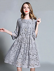 Women's Lace Going out Casual/Daily Vintage A Line Lace Dress,Floral Round Neck Knee-length ¾ Sleeve Black Gray Cotton Spring Mid Rise