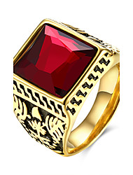 Retro Style Cool Mens Rings 18K Gold Plated Red Black Stone Titanium Steel Square Rings Men Jewelry TGR117