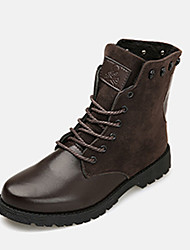 Men's Boots Fall / Winter Comfort PU / Fleece Casual Flat Heel Lace-up Black / Blue / Brown