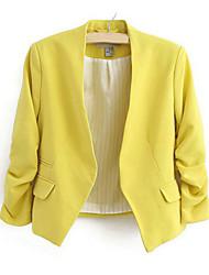 Mulheres Blazer Outono,Sólido Azul / Rosa / Preto / Amarelo Algodão Colarinho de Camisa Manga Longa Fina