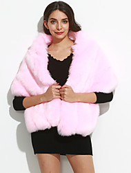 Women's Casual/Daily Simple Cloak/Capes,Solid / Rainbow V Neck Sleeveless Winter Pink / White / Gray Faux Fur Medium