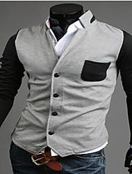 Herren Einfarbig Einfach Lässig/Alltäglich Jacke Langarm Blau Schwarz Grau Baumwolle