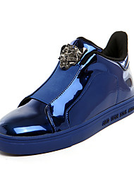 Men's Flats Spring Fall Other PU Casual Flat Heel Lace-up Black Blue Silver Other
