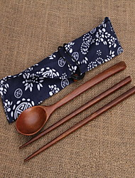 Wood Set Spoons Chopsticks Single