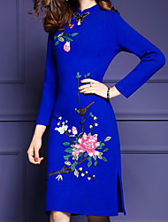 Women's Plus Size Chinoiserie Sheath Dress,Jacquard Round Neck Above Knee Long Sleeve Blue Polyester Fall Mid Rise Inelastic Medium