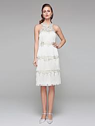 2017 Lanting Bride® Sheath / Column Wedding Dress - Chic & Modern Little White Dresses See-Through Wedding Dresses Knee-length Jewel Lace with