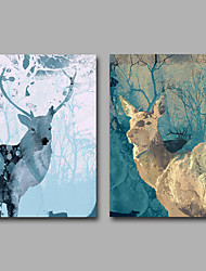 Canvas Set Unframed Canvas Print Abstract Animal Elk ModernTwo Panels Canvas Horizontal Print Wall Decor For Home Decoration