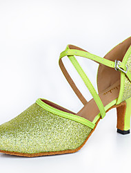 Customizable Women's Dance Shoes Satin Leather Sparkling Glitter Satin Leather Sparkling Glitter Latin Heels Customized HeelPractice
