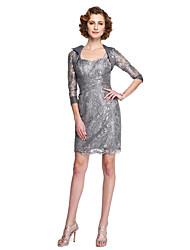 2017 Lanting mãe bainha / coluna bride® do vestido de noiva - duas peças rendas sem mangas na altura do joelho com apliques de renda